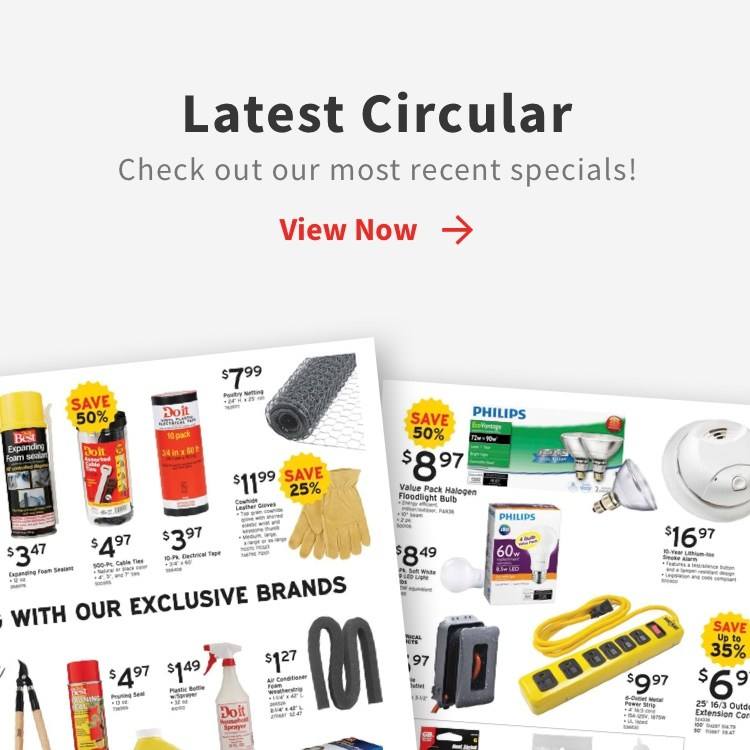Latest circular callout with circular photos with check out our most recent specials with view now link