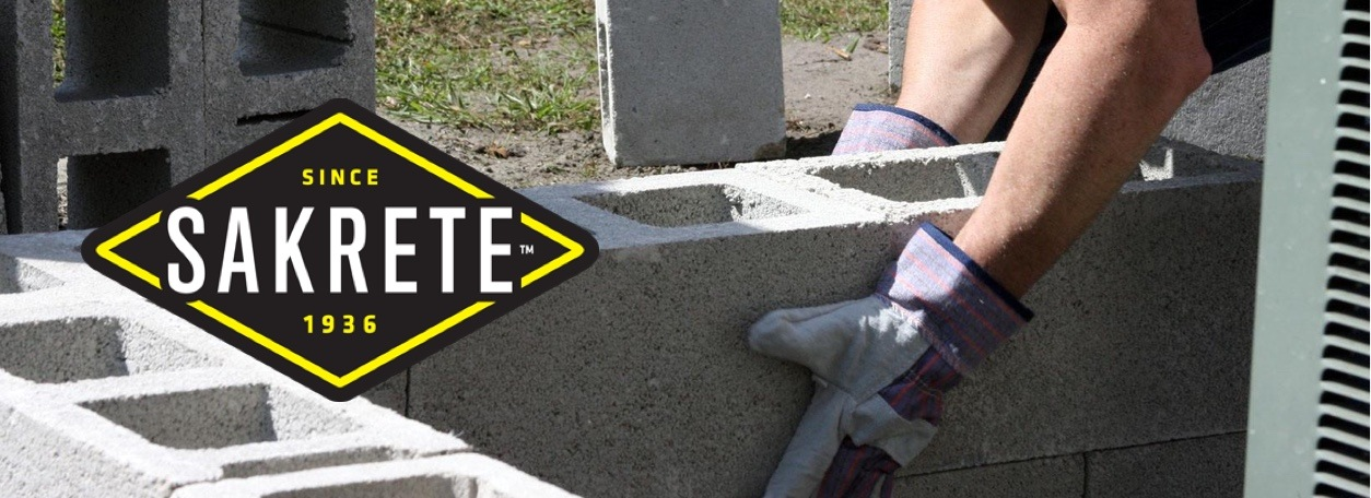Sakrete logo with person laying concrete bricks