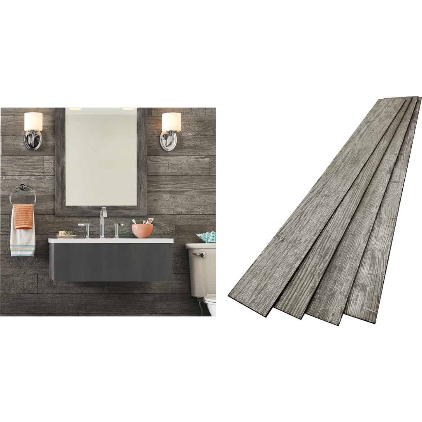 DPI 6 In. W. x 48 In. L. x 1/4 In. Thick Thunder Gray Rustic Wall Plank (12-Pack) Image 1