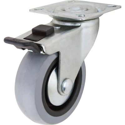 Shepherd 3 In. Thermoplastic Swivel Plate Caster with Brake