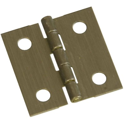 National 1 In. x 1 In. Antique Brass Hinge (2-Pack)