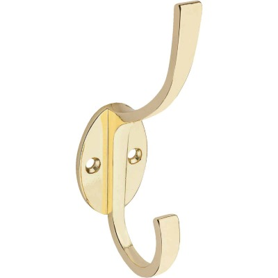 Stanley Home Designs Polished Brass Modern Coat & Hat Wardrobe Hook