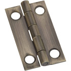 National 7/8 In. x 1-1/2 In. Antique Brass Narrow Decorative Hinge (2-Pack) Image 1