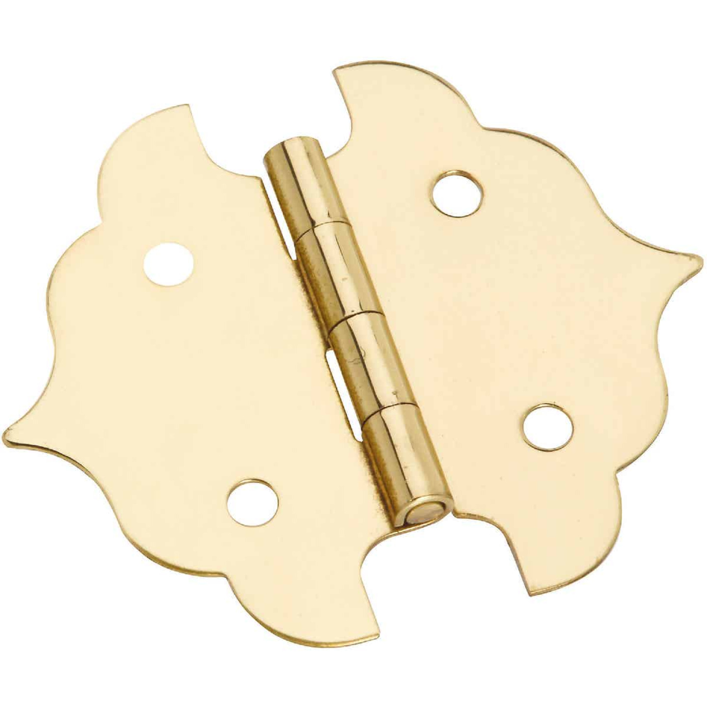 National 1-1/8 In. Antique Brass Decorative Hinge (2-Pack) Image 1