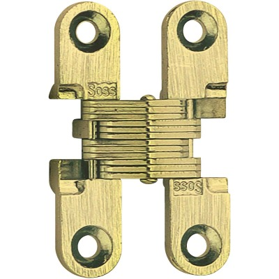SOSS Satin Brass 3/8 In. x 1-11/16 In. Invisible Hinge, (2-Pack)