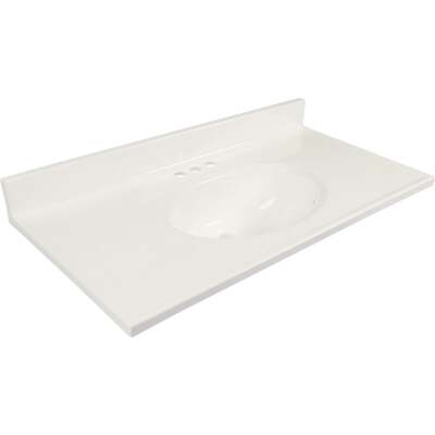 Modular Vanity Tops 37 In. W x 19 In. D Solid White Cultured Marble Non-Drip Edge Vanity Top with Oval Bowl