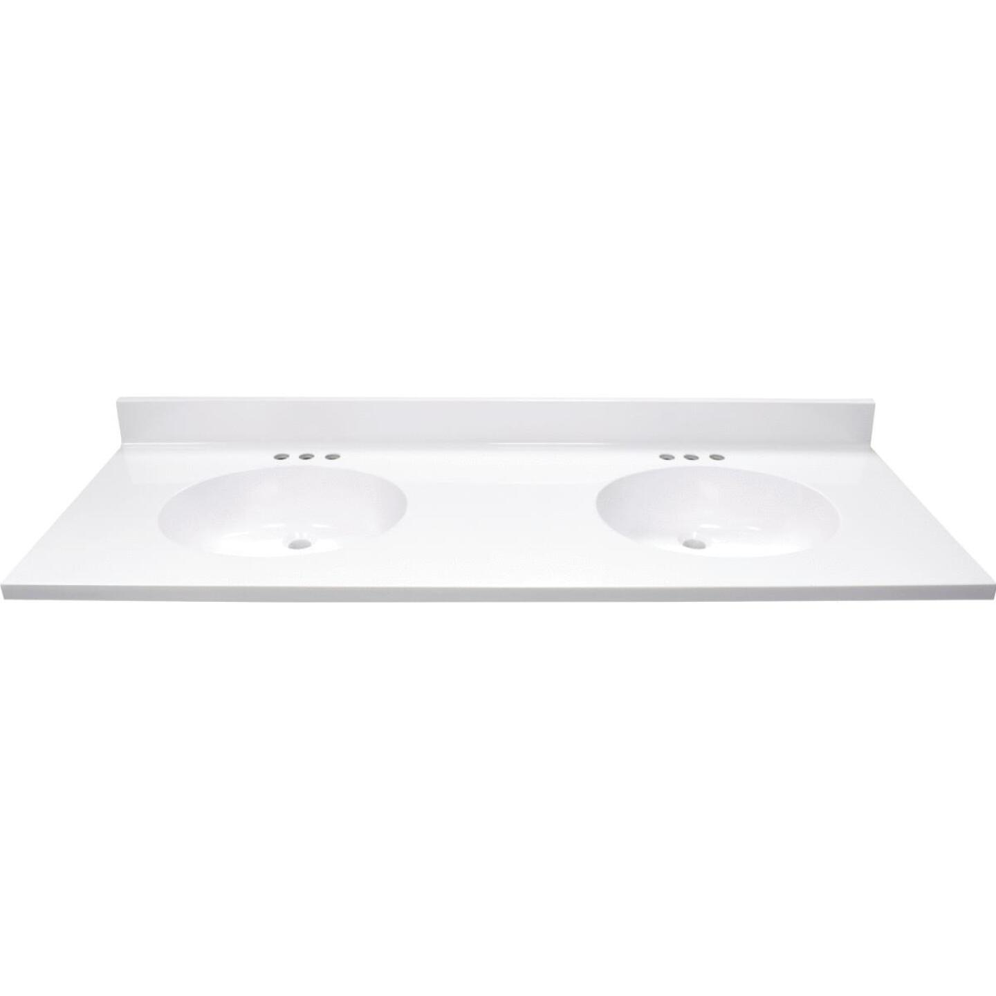 Modular Vanity Tops 61 In. W x 22 In. D Solid White Cultured Marble Vanity Top with Double Oval Bowl Image 2