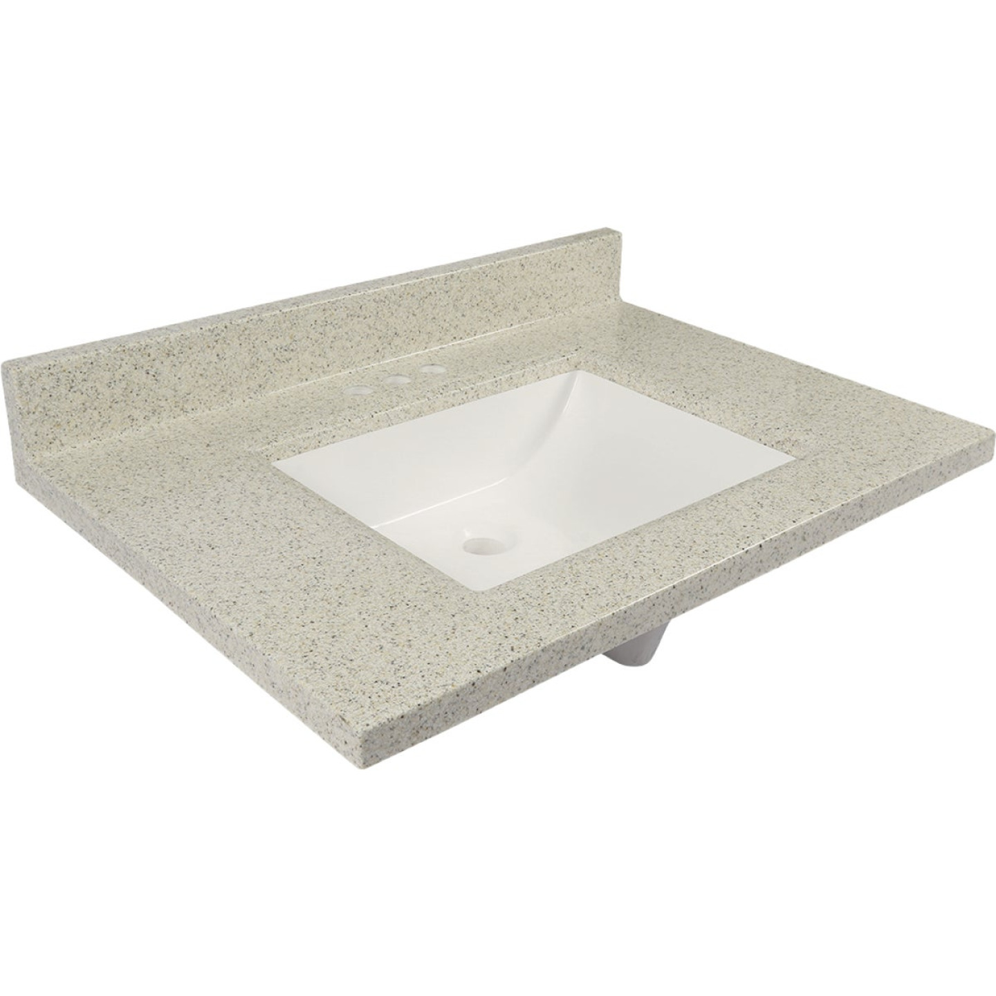 Modular Vanity Tops 31 In. W x 22 In. D Dune Cultured Marble Vanity Top with Rectangular Wave Bowl Image 1