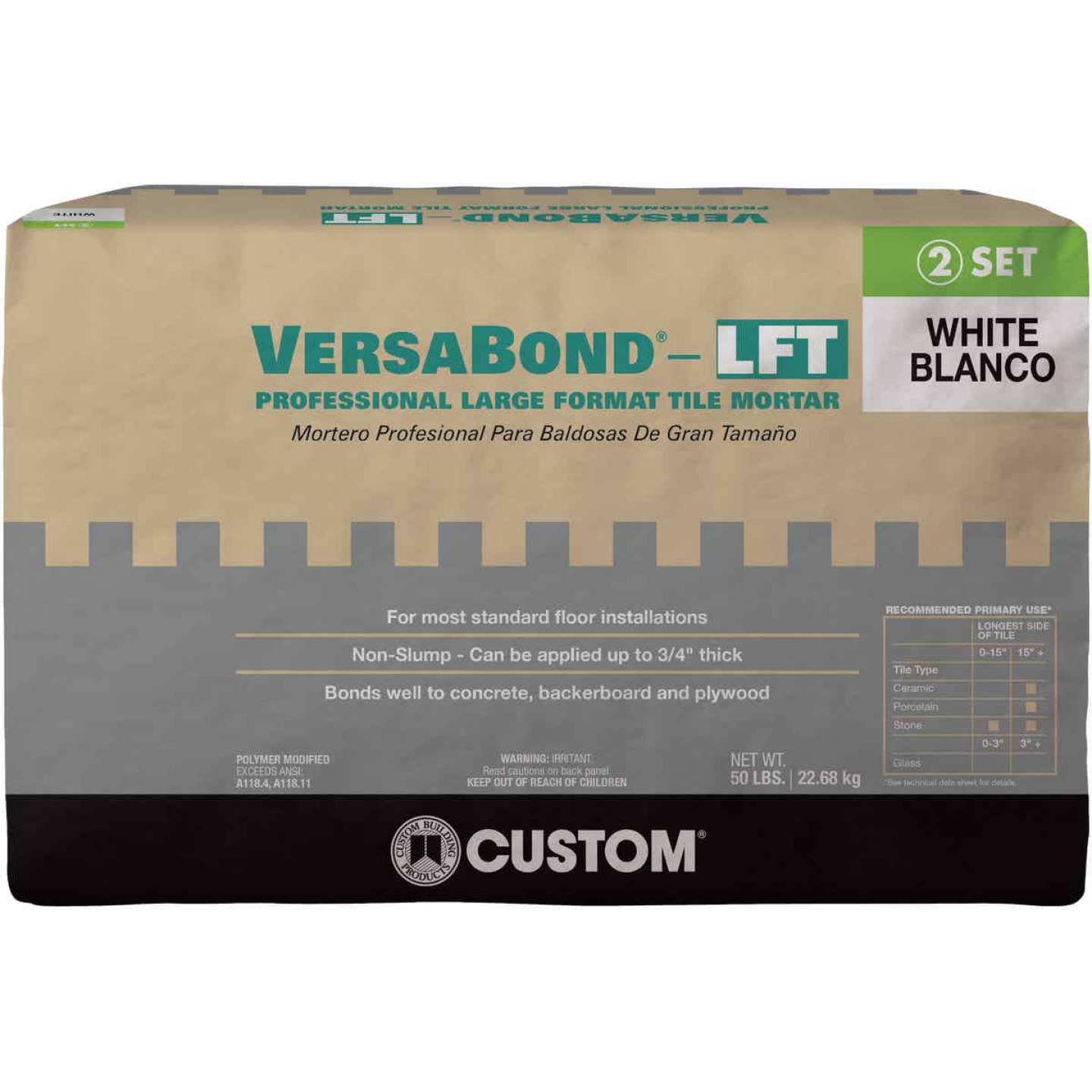 Custom Building Products VersaBond 50 Lb. White Large Format Tile Mortar Image 1
