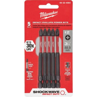 Milwaukee Shockwave #2 Phillips 3-1/2 In. Power Impact Screwdriver Bit (5-Pack)