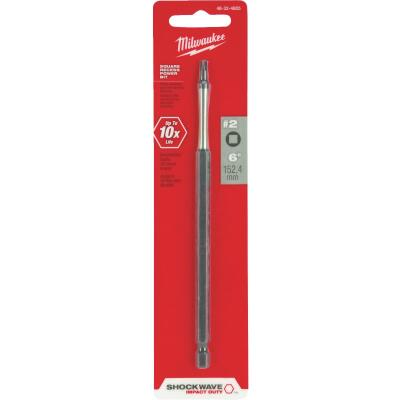 Milwaukee Shockwave #2 Square Recess 6 In. Power Impact Screwdriver Bit