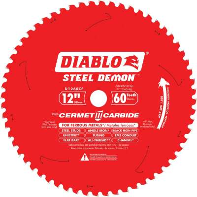 Diablo Steel Demon 12 In. 60-Tooth Cermet II Carbide Ferrous Metals Circular Saw Blade
