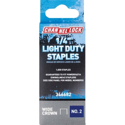 Channellock No. 2 Light Duty Wide Crown Staple, 1/4 In. (1000-Pack)