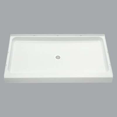Sterling Ensemble 60 In. W x 34 In. D Center Drain Shower Floor & Base in White