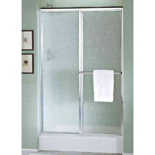 Sterling Deluxe 48-7/8 In. W. X 70 In. H. Chrome Rain Glass Sliding Shower Door