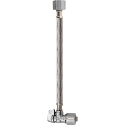 Keeney 5/8 In. x 12 In. Stainless Steel Quick Lock Toilet Supply Tube with Angled Quarter Turn Valve