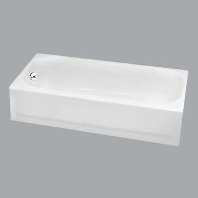 Briggs Pendant V 60 In. L x 30 In. W x 14-1/4 In. D Left Drain Bathtub in White