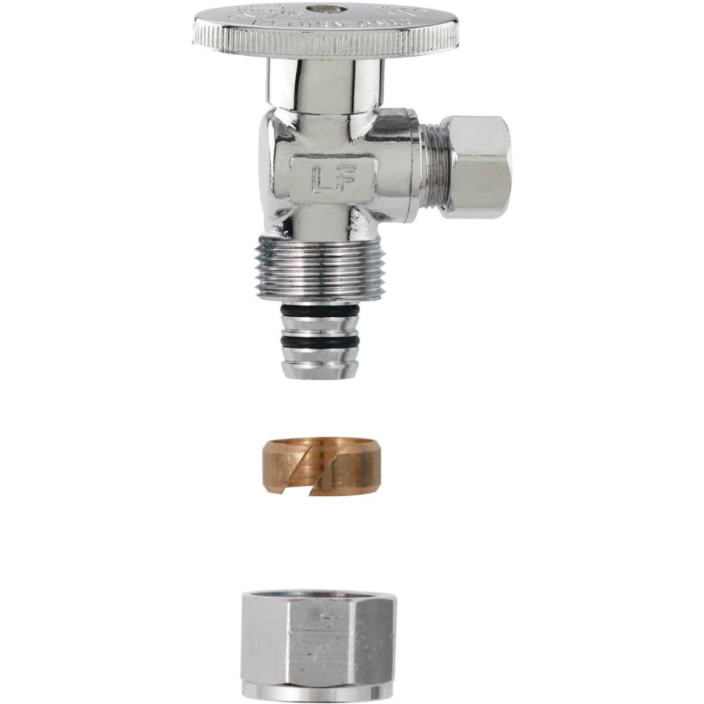 Plumb Pak No Crimp 1/2 In. x 3/8 In. Quarter Turn PEX Angle Valve Image 1