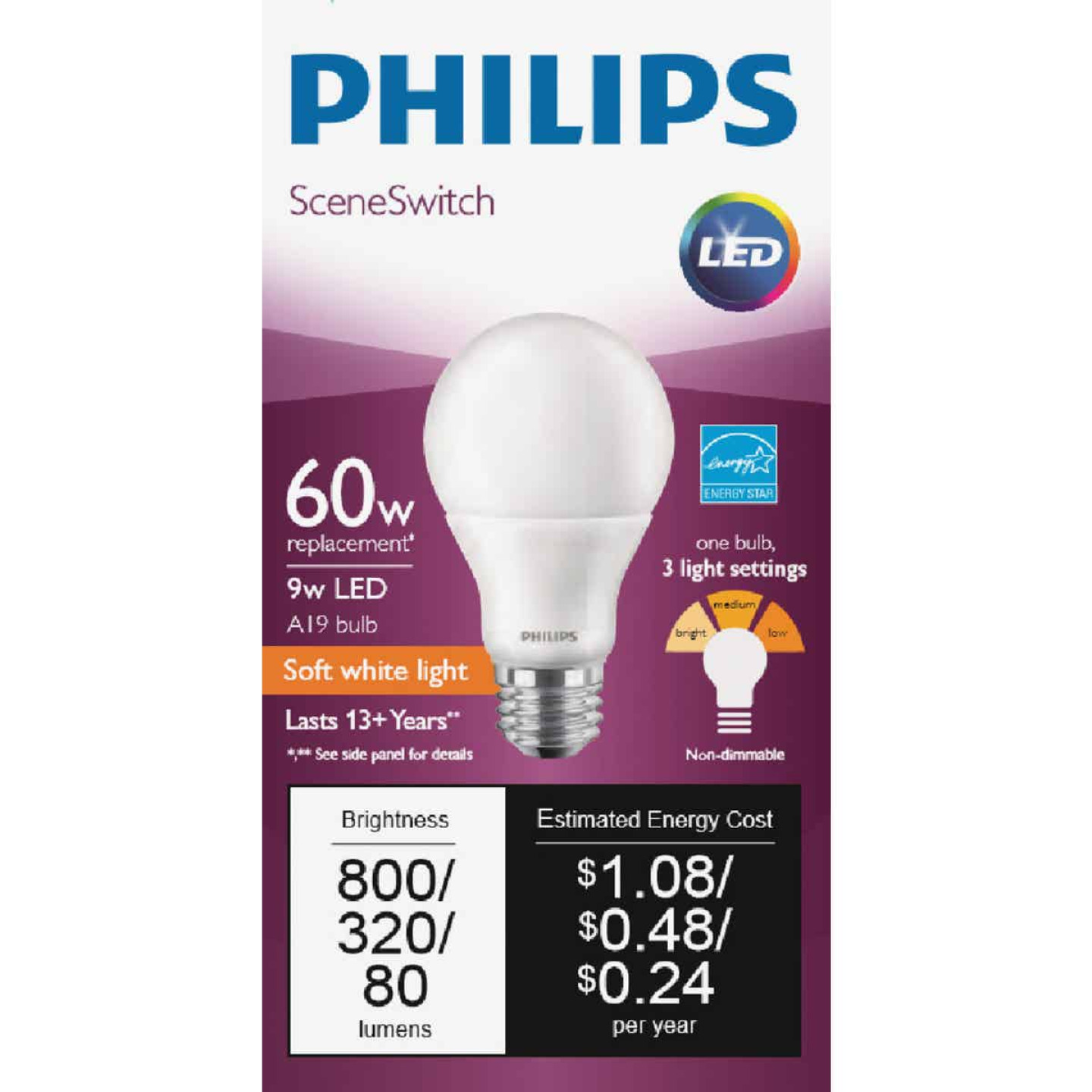 Philips SceneSwitch 60W Equivalent Soft White/Warm White/Warm Glow A19 Medium LED Light Bulb Image 2
