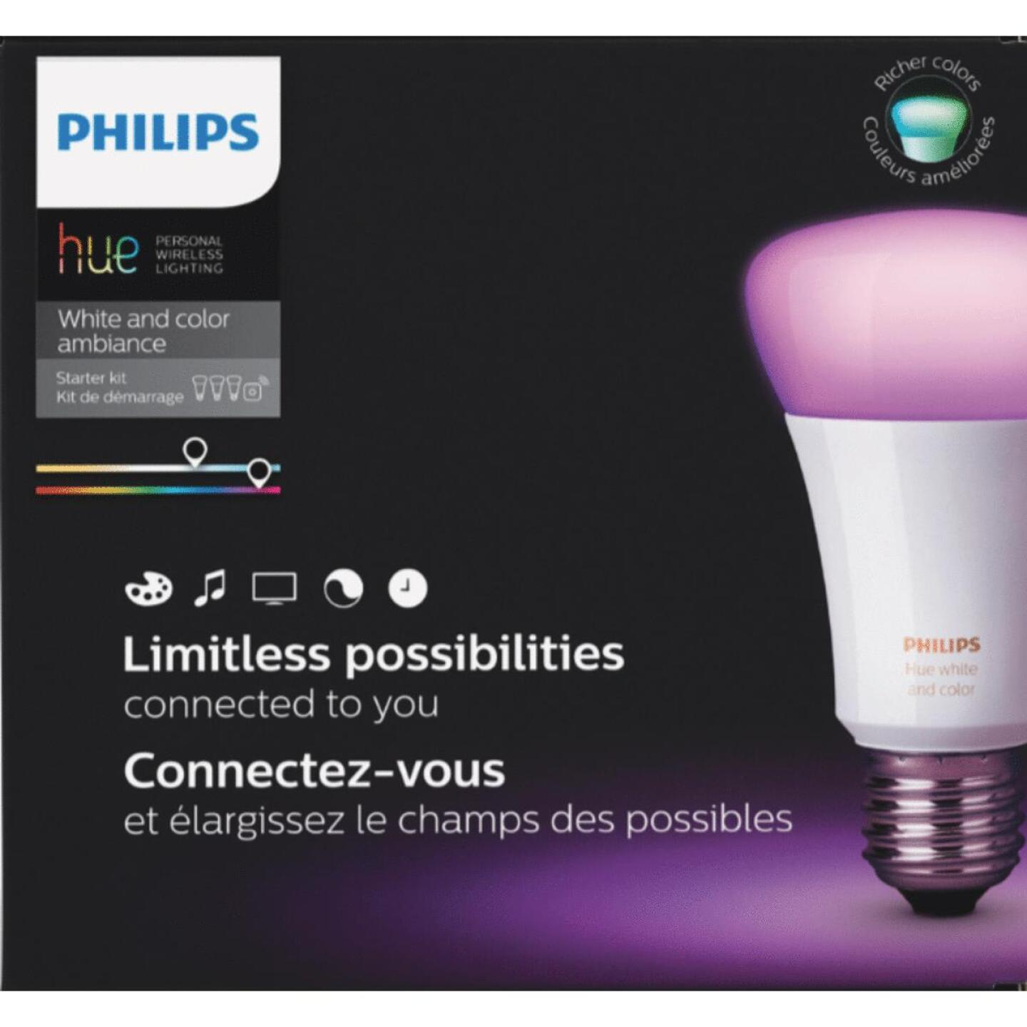 Philips Hue White & Color Ambiance 60W Equivalent Medium A19 Dimmable LED Light Bulb Starter Kit Image 2