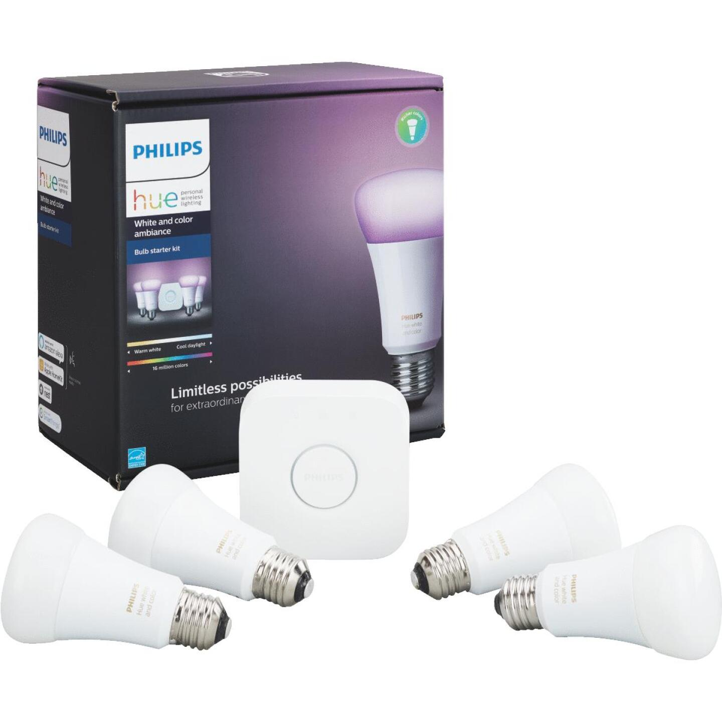 Philips Hue White & Color Ambiance 60W Equivalent Medium A19 Dimmable LED Light Bulb Starter Kit Image 1