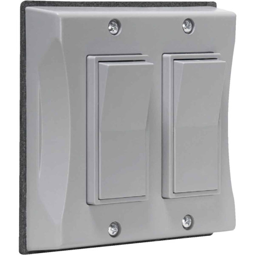 Bell 2-Gang Vertical Mount Gray Weatherproof Outdoor Rocker Switch Cover