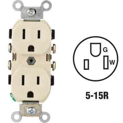 Leviton 15A Ivory Commercial Grade 5-15R Duplex Outlet