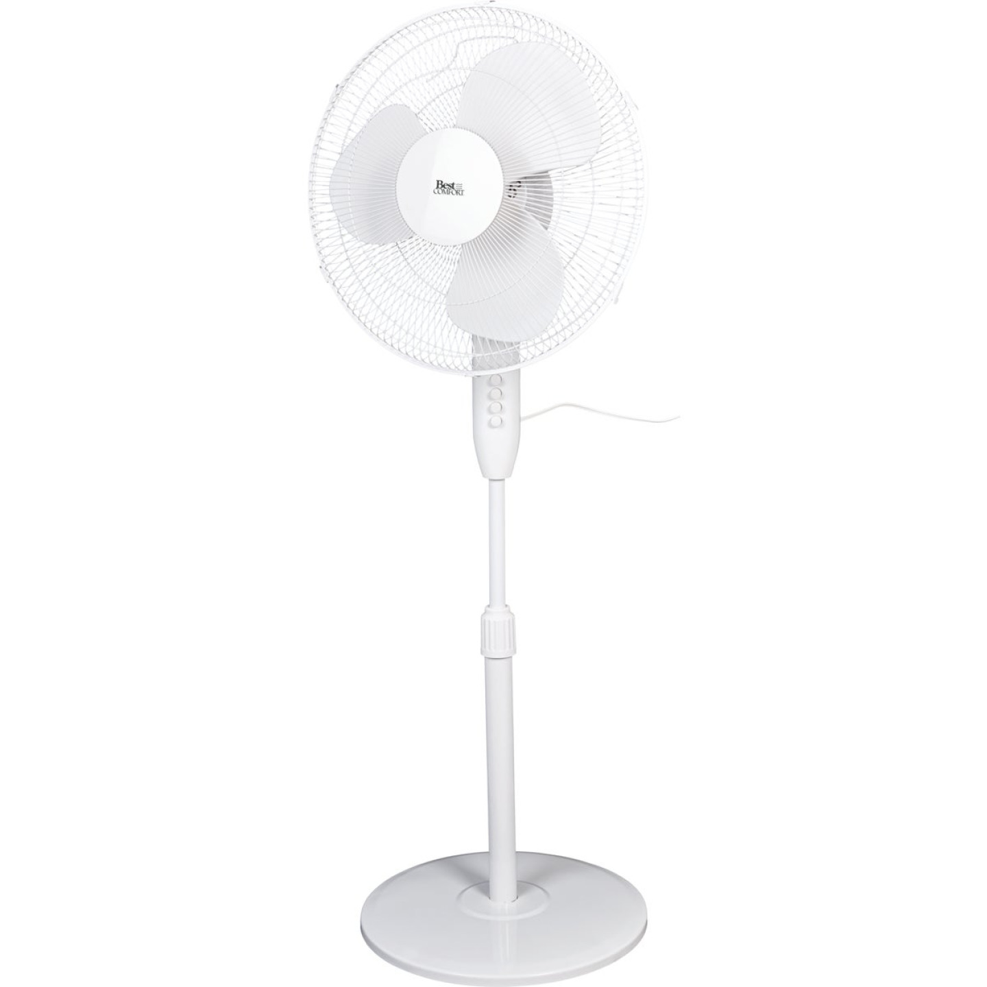 Best Comfort 16 In. 3-Speed Extends to 49 In. H. White Oscillating Pedestal Fan Image 2