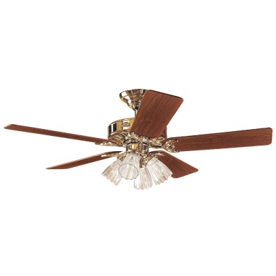 Hunter Studio 52 In. Bright Brass Ceiling Fan with Light Kit