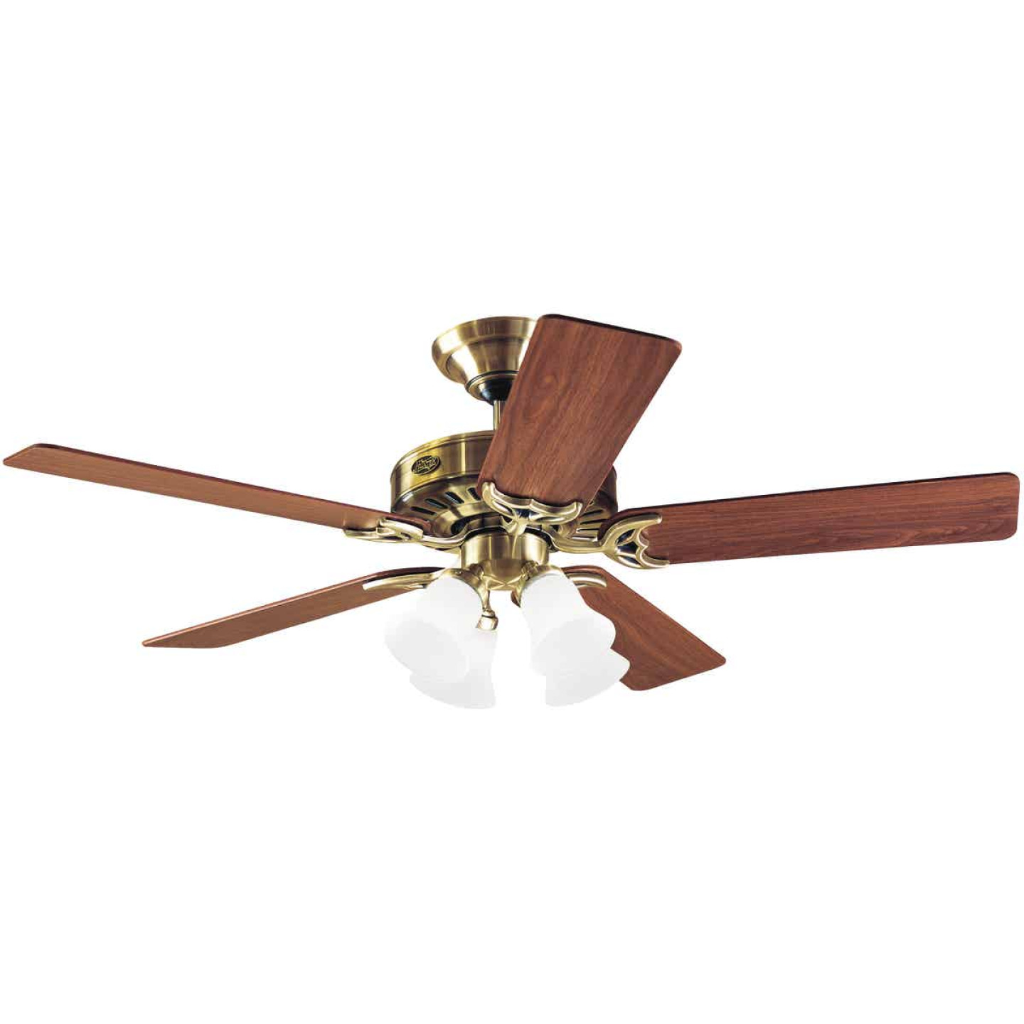 Hunter Studio 52 In. Antique Brass Ceiling Fan with Light Kit Image 1