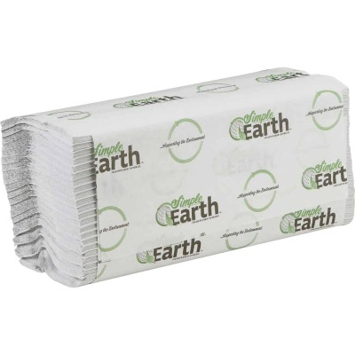 Simple Earth C-Fold White Hand Towel (12 Count)