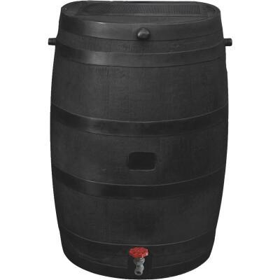 RTS Home Accents ECO 50 Gal. Black Recycled Polyethylene Rain Barrel