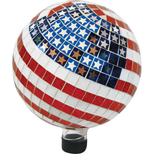 Alpine 10 In. Dia. Glass American Flag Gazing Globe Lawn Ornament