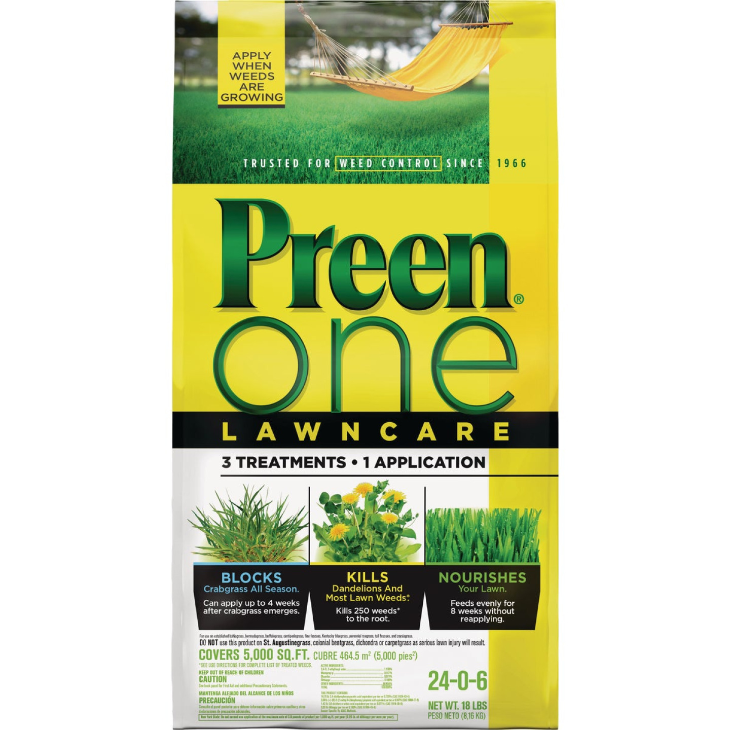 Preen One Lawn Care 18 Lb. Ready To Use Granules Weed Killer with Fertilizer Image 1