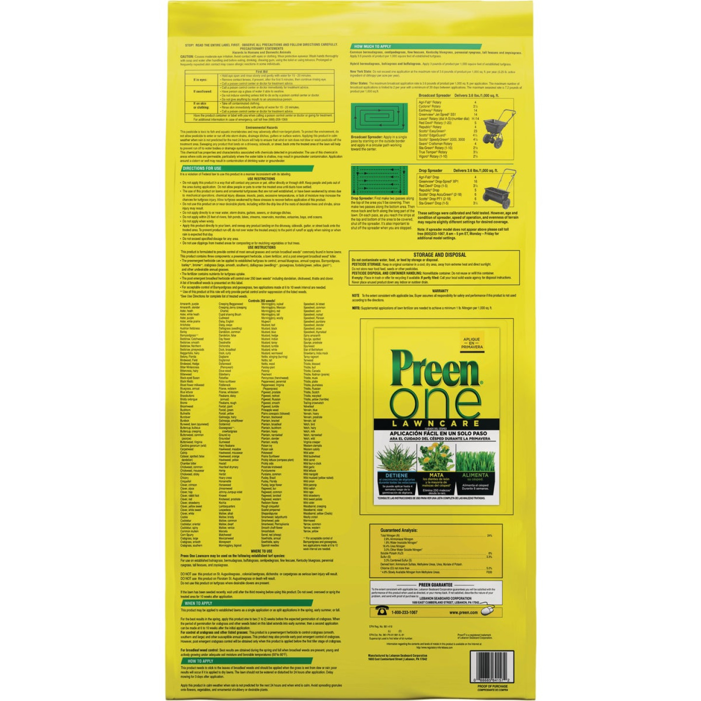Preen One Lawn Care 18 Lb. Ready To Use Granules Weed Killer with Fertilizer Image 2