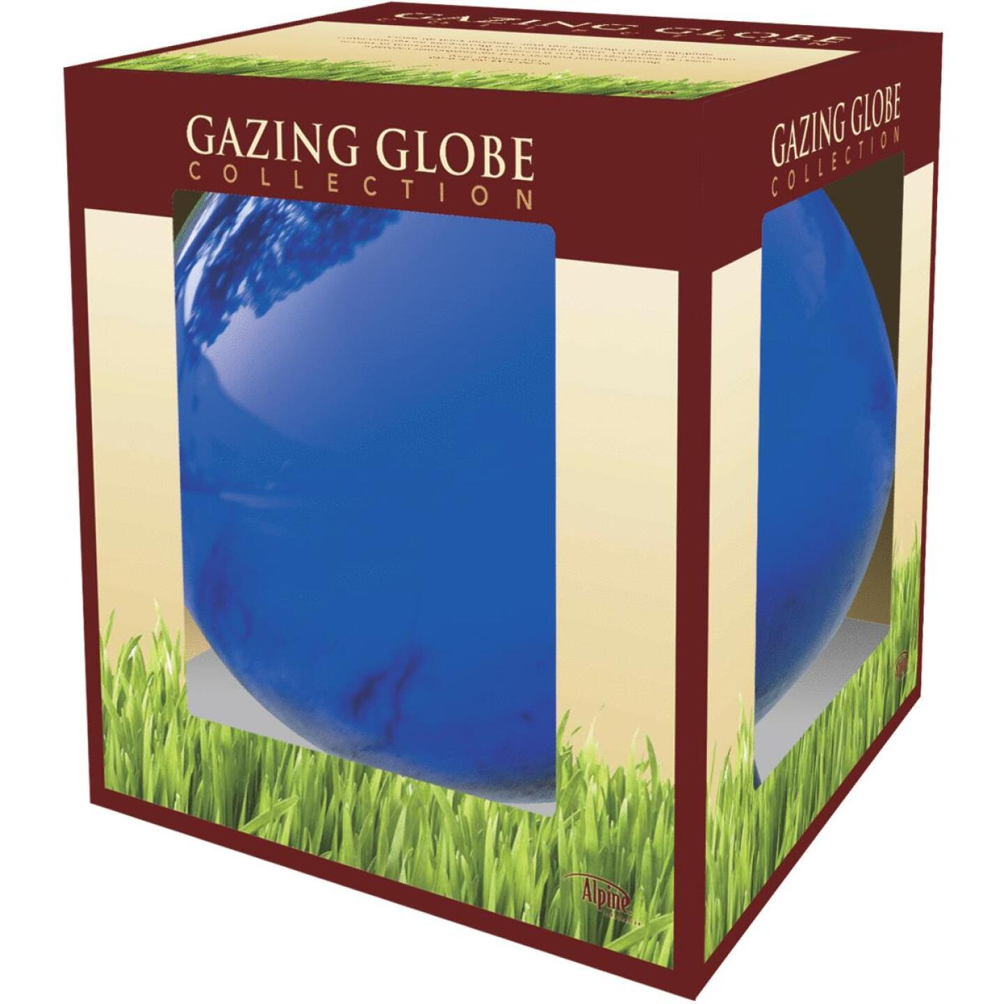 Alpine 10 In. Dia. Electric Blue Glass Gazing Globe Lawn Ornament Image 2