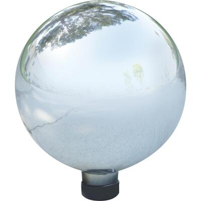 Alpine 10 In. Dia. Electric Silver Glass Gazing Globe Lawn Ornament