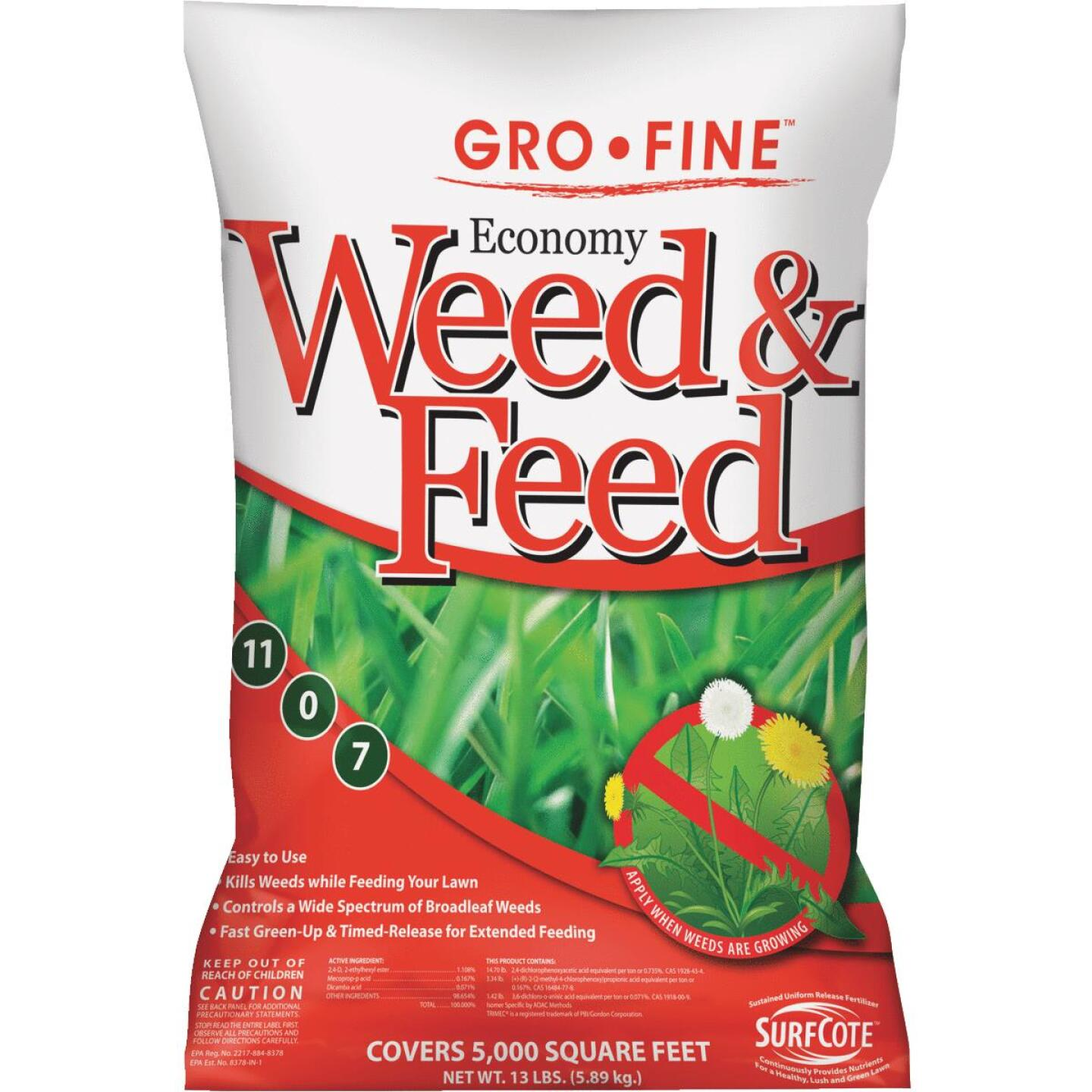 Gro-Fine Economy Weed & Feed 13 Lb. 5000 Sq. Ft. 11-0-7 Lawn Fertilizer with Weed Killer Image 1