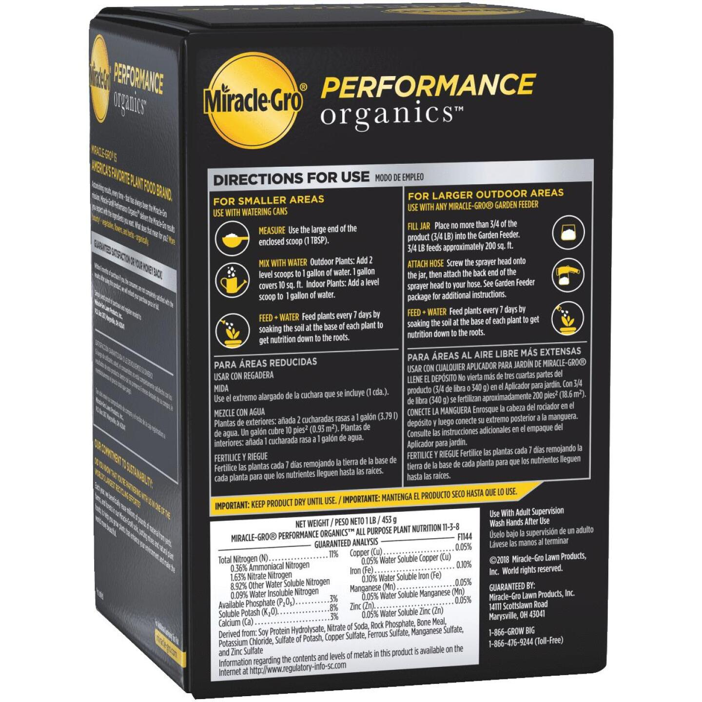 Miracle-Gro Performance Organics 1 Lb. 11-3-8 Dry Plant Food Image 2
