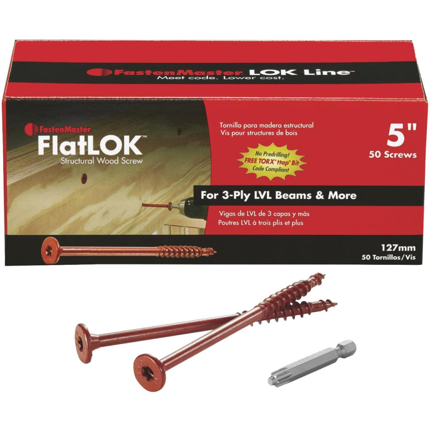 FastenMaster FlatLok 5 In. Engineered Structural Wood Screw (50 Ct.) Image 1