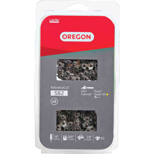 Oregon AdvanceCut LubriTec S62T 18 In. 3/8 In. Low Profile 62 Link Chainsaw Chain (2-Pack)
