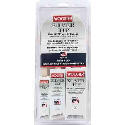 Wooster SILVER TIP 1 In., 1-1/2 In., 2 In. Angle Sash Polyester Paint Brush Set (3-Pack)