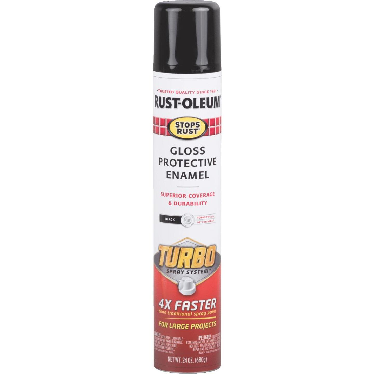 Rust-Oleum Stops Rust 24 Oz. Black Turbo Spray Paint Image 1