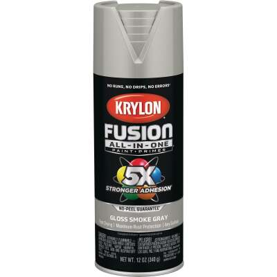 Krylon Fusion All-In-One Gloss Spray Paint & Primer, Smoke Gray