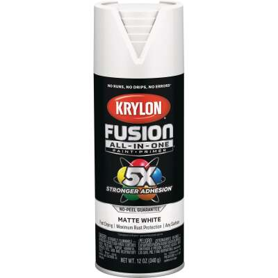 Krylon Fusion All-In-One Matte Spray Paint & Primer, White