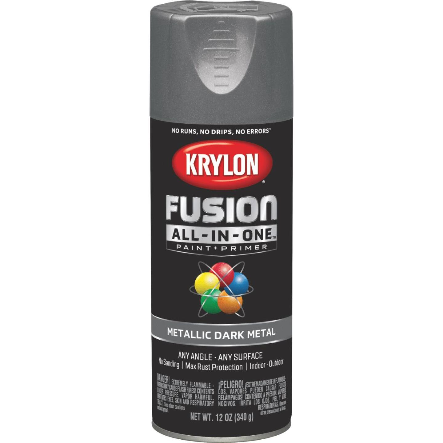 Krylon Fusion All-In-One Metallic Spray Paint & Primer, Dark Metal Image 1