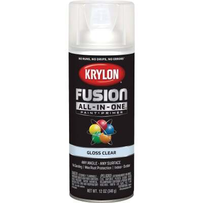 Krylon Fusion All-In-One Gloss Spray Paint & Primer, Clear