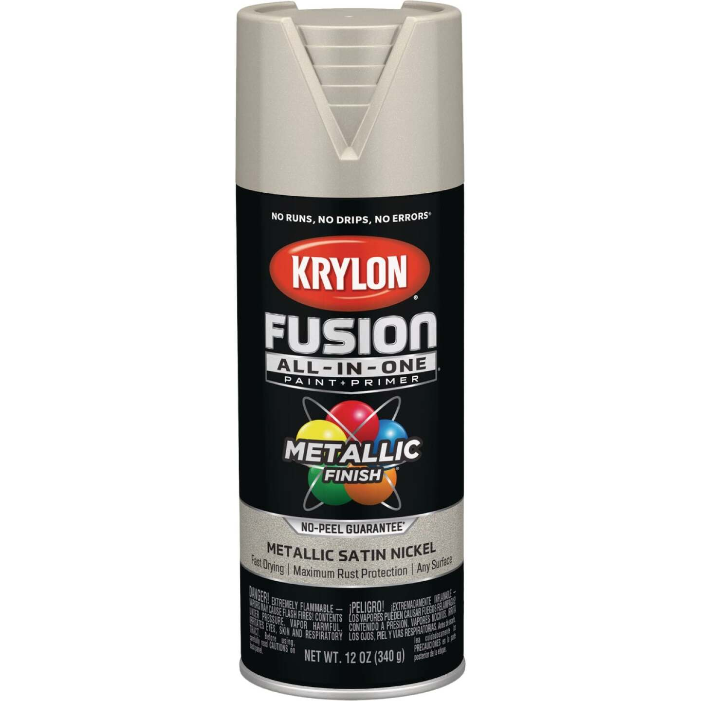 Krylon Fusion All-In-One Metallic Spray Paint & Primer, Satin Nickel Image 1