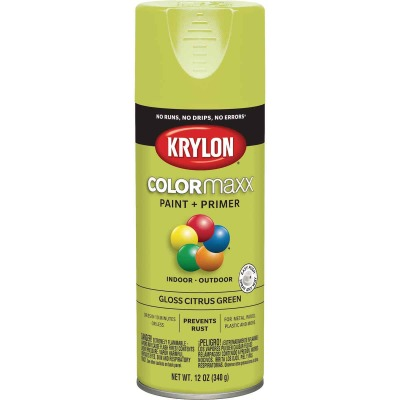 Krylon Colormaxx Gloss Spray Paint & Primer, Citrus Green