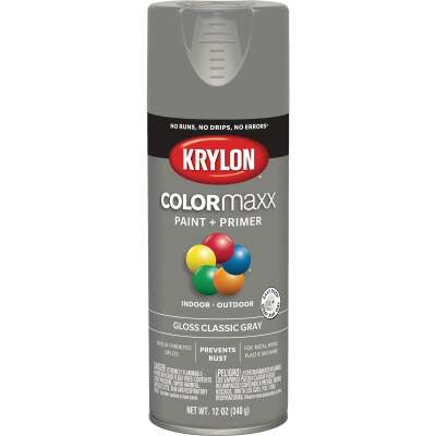 Krylon Colormaxx Gloss Spray Paint & Primer, Classic Gray